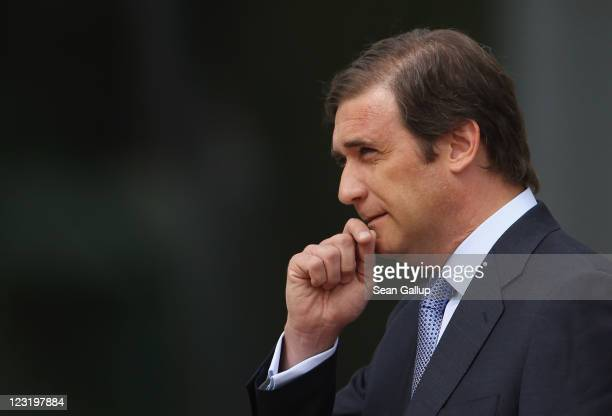 Portuguese Prime Minister Pedro Passos Coelho arrives at the Chancellery to meet with German Chancellor Angela Merkelon September 1 2011 in Berlin...