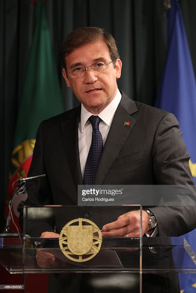 Portuguese Prime Minister <a gi-track='captionPersonalityLinkClicked' href=/galleries/search?phrase=Pedro+Passos+Coelho&family=editorial&specificpeople=6912340 ng-click='$event.stopPropagation()'>Pedro Passos Coelho</a> attends a press conference with British Prime Minister David Cameron on September 04, 2015 in Lisbon, Portugal. David Cameron is visiting Spain and Portugal as part of a tour to seek support from fellow European leaders to go along with a renegotiation of Britain's EU membership.
