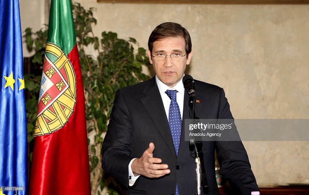 Portuguese Prime Minister <a gi-track='captionPersonalityLinkClicked' href=/galleries/search?phrase=Pedro+Passos+Coelho&family=editorial&specificpeople=6912340 ng-click='$event.stopPropagation()'>Pedro Passos Coelho</a> (C and Algerian Prime Minister Abdelmalek Sellal (not seen) hold a joint press conference within Coelho's official visit in Algiers, Algeria on March 10, 2015.