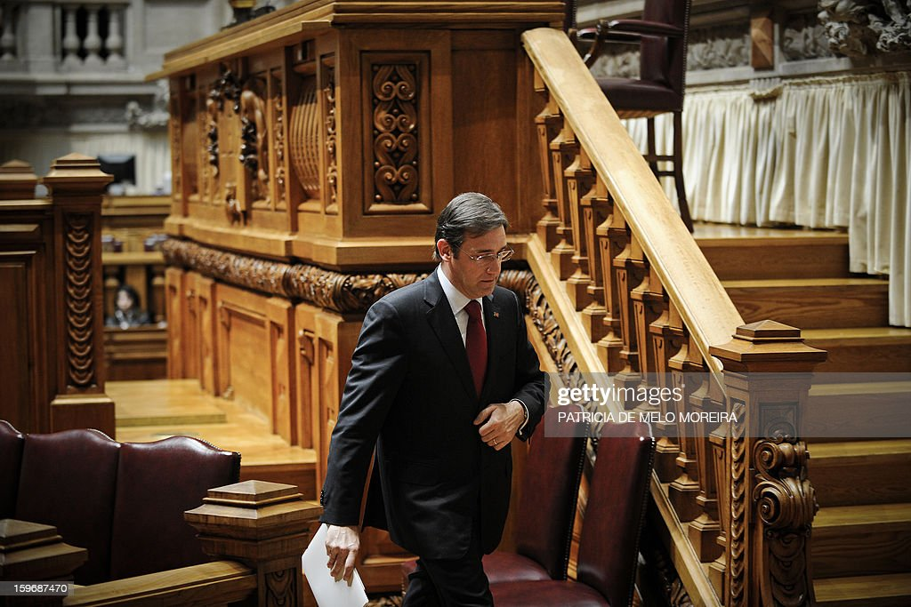 Portuguese Prime Minister Pedro Passos Coelho leaves a plenary session at the Parliament in Lisbon, on January 18, 2013.
