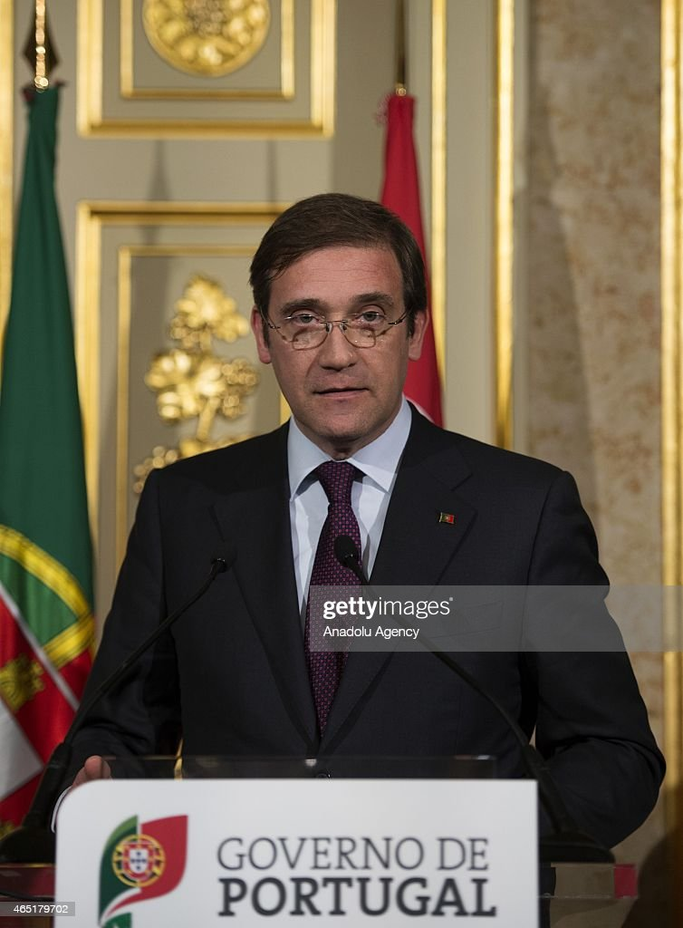 Portuguese Prime Minister <a gi-track='captionPersonalityLinkClicked' href=/galleries/search?phrase=Pedro+Passos+Coelho&family=editorial&specificpeople=6912340 ng-click='$event.stopPropagation()'>Pedro Passos Coelho</a> speak during a press conference at the foreign ministry building in Lisbon, Portugal on March 3, 2015 after the Portuguese Turkish summit.