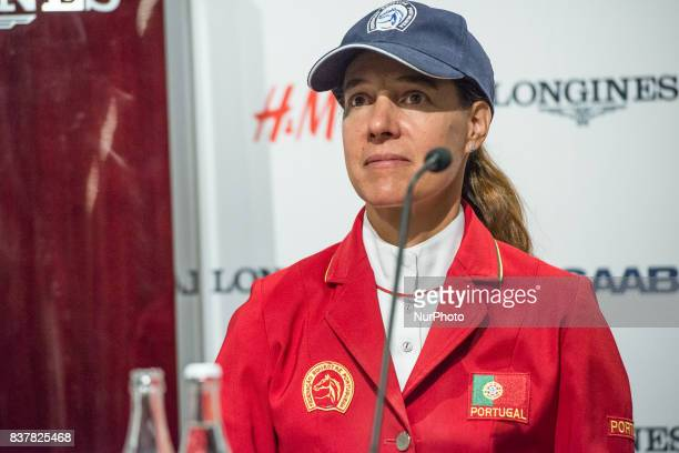 Portuguese rider Luciana Diniz on Fit for Fun 13 answers questions of the press after placing third in the qualifying competition for the European...