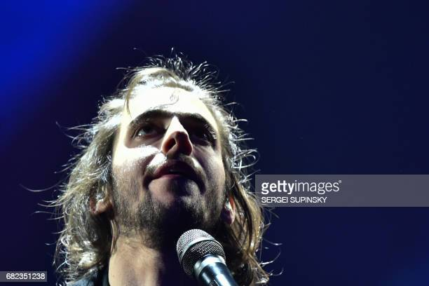Portuguese singer representing Portugal with the song 'Amar Pelos Dios' Salvador Vilar Braamcamp Sobral aka Salvador Sobral performs on stage during...