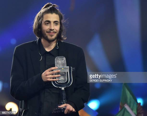 Portuguese singer representing Portugal with the song 'Amar Pelos Dios' Salvador Vilar Braamcamp Sobral aka Salvador Sobral holds the trophy as he...