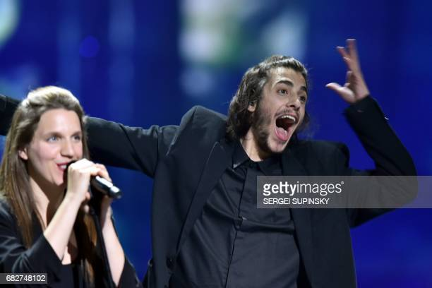 Portuguese singer representing Portugal with the song 'Amar Pelos Dios' Salvador Vilar Braamcamp Sobral aka Salvador Sobral performs on stage with...