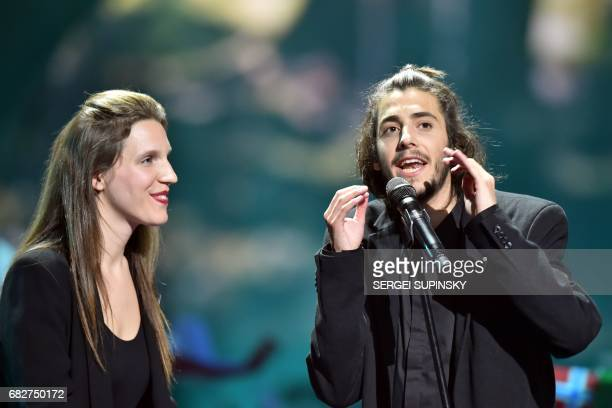 Portuguese singer representing Portugal with the song 'Amar Pelos Dios' Salvador Vilar Braamcamp Sobral aka Salvador Sobral delivers a speech on...
