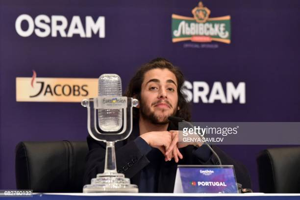Portuguese singer representing Portugal with the song 'Amar Pelos Dios' Salvador Vilar Braamcamp Sobral aka Salvador Sobral reacts as he speaks...