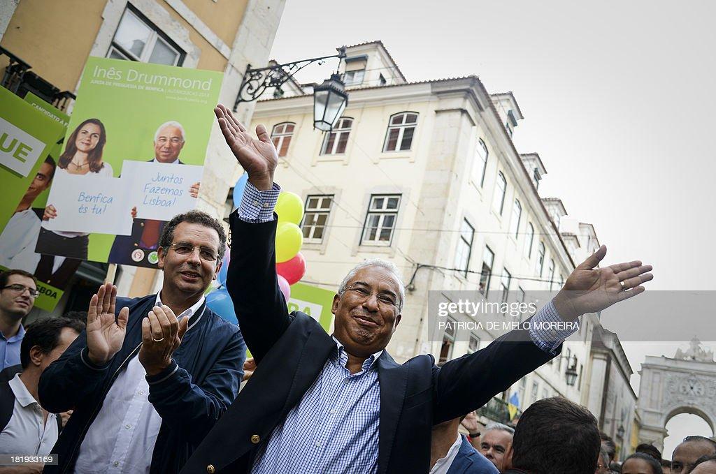 Portuguese Socialist Party general secretary Antonio Jose Seguro and Lisbon's mayoral candidate Antonio Costa take part in a campaign rally in...