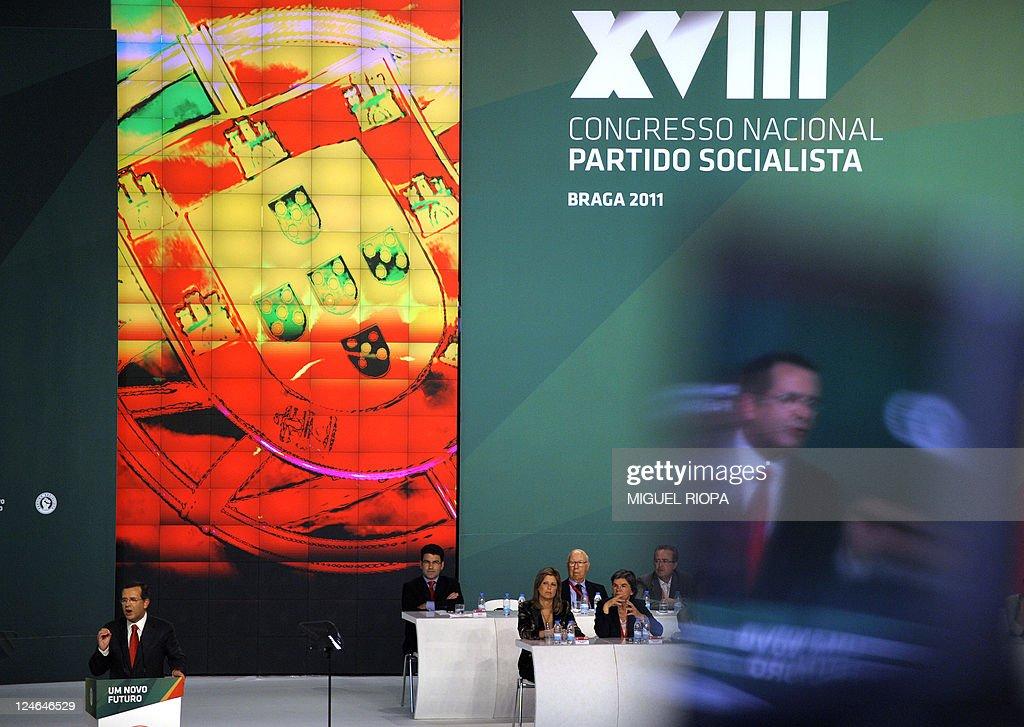 Portuguese Socialist Party GeneralSecretary Antonio Jose Seguro speaks on September 11 2011 at the XVIII Congress of the party in Braga AFP PHOTO /...
