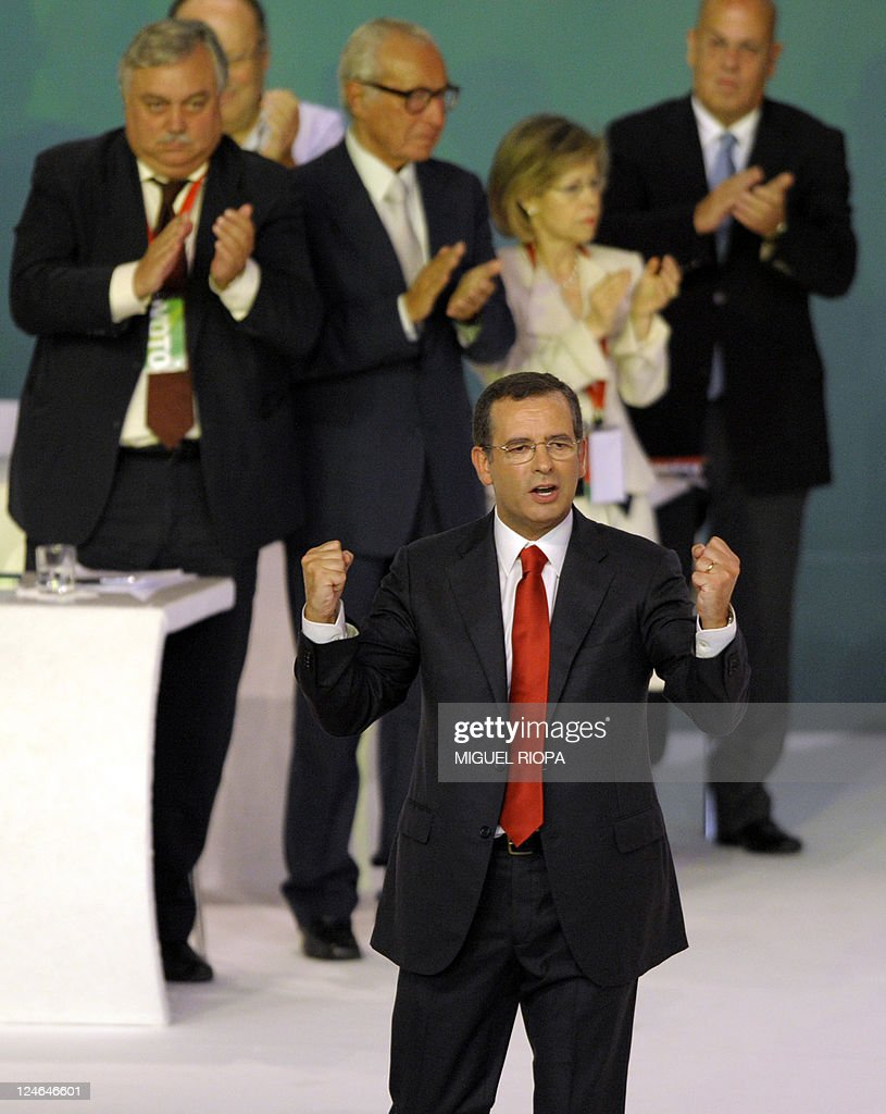 Portuguese Socialist Party GeneralSecretary Antonio Jose Seguro gestures on September 11 2011 after speaking at the XVIII Congress of the party in...
