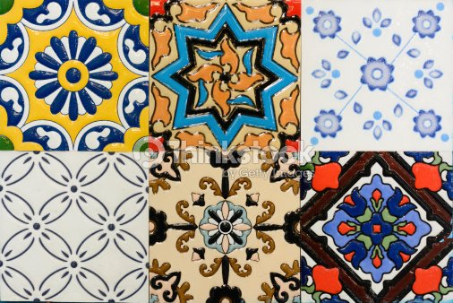 Portuguese Spanish Moroccan Style Vintage Ceramic Tile Stock Photo