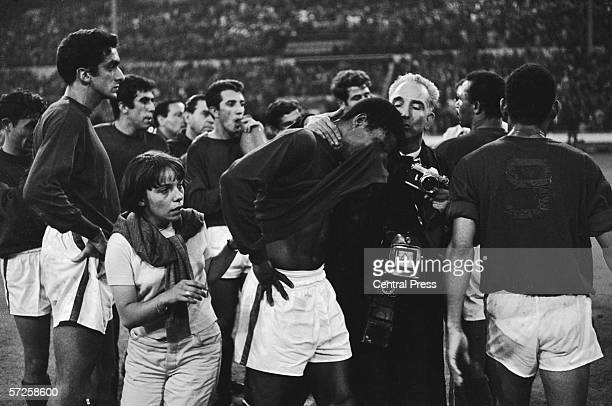 Portuguese striker Eusebio in tears after Portugal's defeat to England in the semi final of the 1966 World Cup at Wembley Stadium 26th July 1966