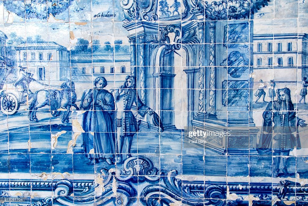 Portuguese tiles in cloister of  church of Nossa Senhora Do Rosario Dos Pretos,  Salvador, Brazil