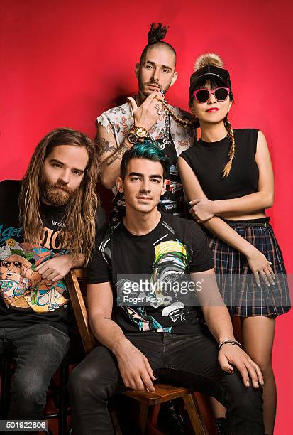 Jack Lawless Cole Whittle Joe Jonas and JinJoo Lee pose for a portrait at the 16th Annual TJ Martell Foundation New York Family Day on December 13...