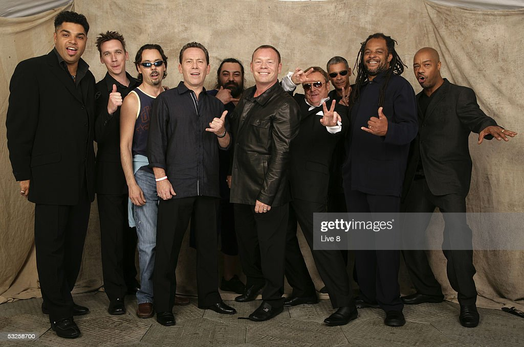 UB40 pose for a studio portrait backstage at 'Live 8 London' in Hyde Park on July 2, 2005 in London, England. The free concert is one of ten simultaneous international gigs including Philadelphia, Berlin, Rome, Paris, Barrie, Tokyo, Cornwall, Moscow and Johannesburg. The concerts precede the G8 summit (July 6-8) to raising awareness for MAKEpovertyHISTORY.