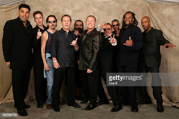UB40 pose for a studio portrait backstage at 'Live 8 London' in Hyde Park on July 2 2005 in London England The free concert is one of ten...