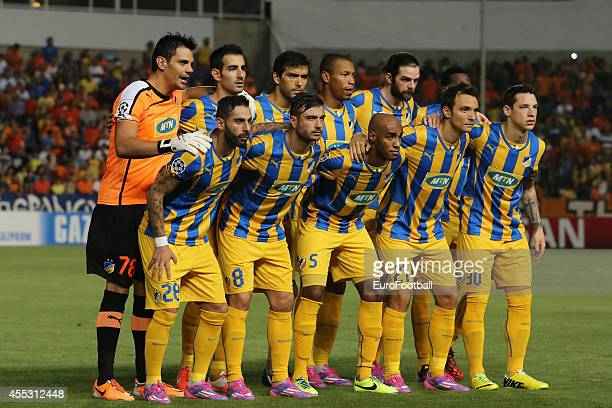 FC pose for a team photo before the UEFA Champions League playoffs second leg match between APOEL and Aalborg at the GSP Stadium on August 26 2014 in...
