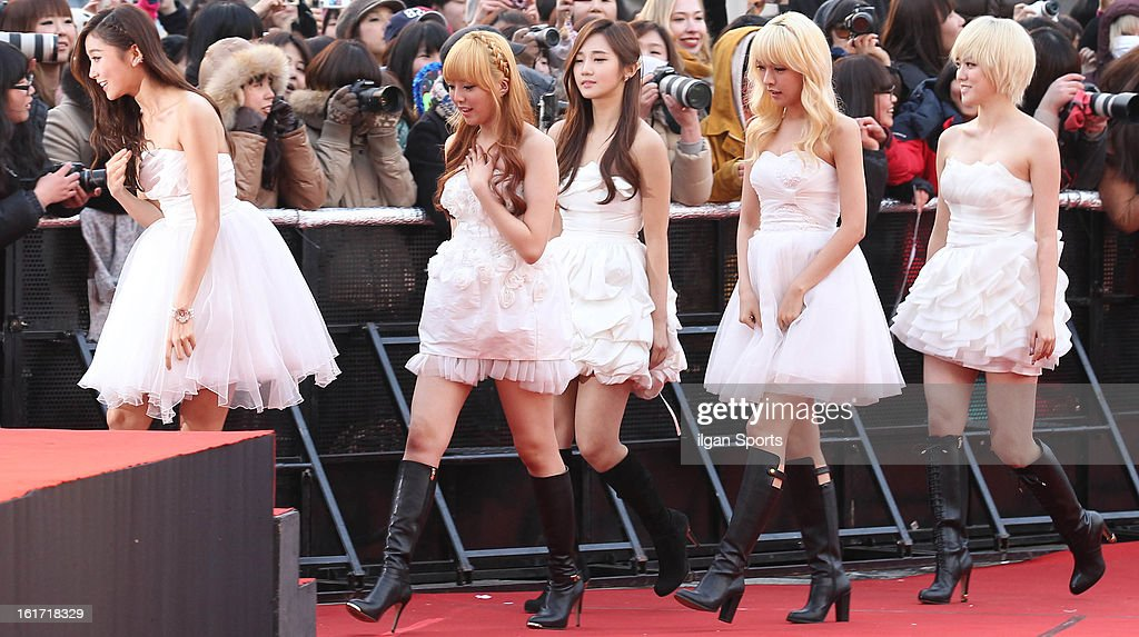 VENUS pose for photographs upon arrival during '2nd Gaonchart K-pop Awards' at Olympic Hall on February 13, 2013 in Seoul, South Korea.