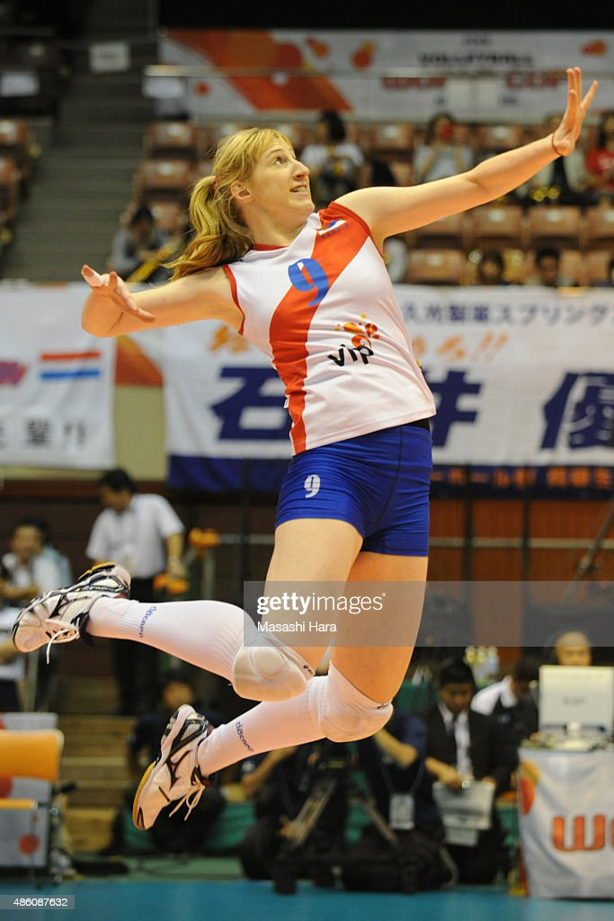 A pose of spike of <a gi-track='captionPersonalityLinkClicked' href=/galleries/search?phrase=Brankica+Mihajlovic&family=editorial&specificpeople=9605568 ng-click='$event.stopPropagation()'>Brankica Mihajlovic</a> of Serbia in warm up prior to the match between Russia and Serbia during the FIVB Women's Volleyball World Cup Japan 2015 at Sendai City Gymnasium on August 31, 2015 in Sendai, Japan.