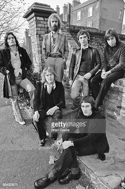 Posed exterior group shot of the Incredible String Band in West London including Malcolm Le Maistre Robin Williamson and Mike Heron on November 20th...