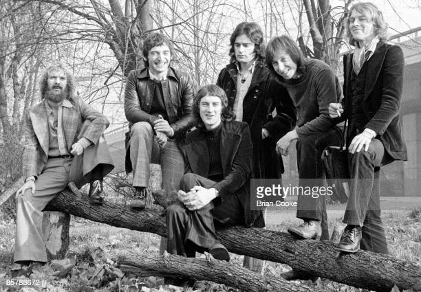 Posed exterior group shot of the Incredible String Band in West London including Mike Heron Malcolm Le Maistre and Robin Williamson on November 20...