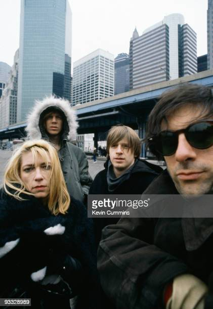 Posed group portrait of American band Sonic Youth in New York City on 26th February 1989 Left to right are Kim Gordon Thurston Moore Steve Shelley...