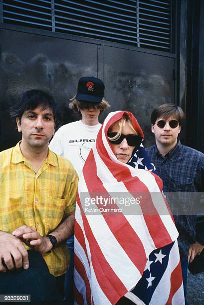 Posed group portrait of American band Sonic Youth in New York City on June 171992 Left to right are Lee Ranaldo Thurston Moore Kim Gordon and Steve...