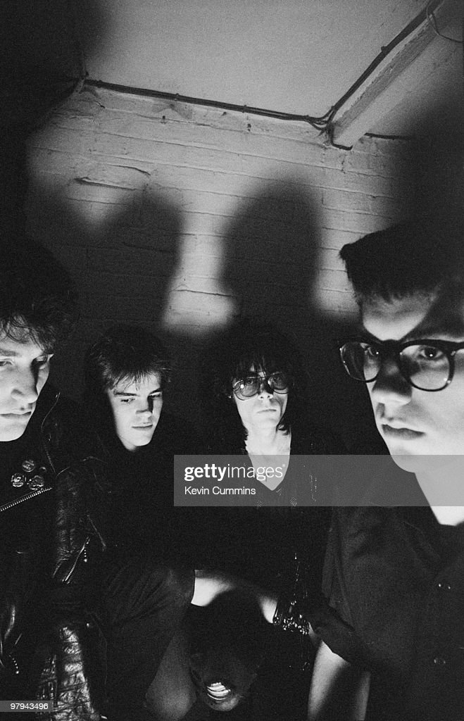 Posed group portrait of British band Sisters of Mercy. Left to right are <a gi-track='captionPersonalityLinkClicked' href=/galleries/search?phrase=Craig+Adams&family=editorial&specificpeople=211144 ng-click='$event.stopPropagation()'>Craig Adams</a>, Gary Marx, Andrew Eldritch and Ben Gunn on November 12, 1982.