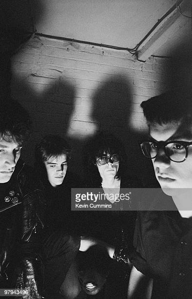 Posed group portrait of British band Sisters of Mercy Left to right are Craig Adams Gary Marx Andrew Eldritch and Ben Gunn on November 12 1982
