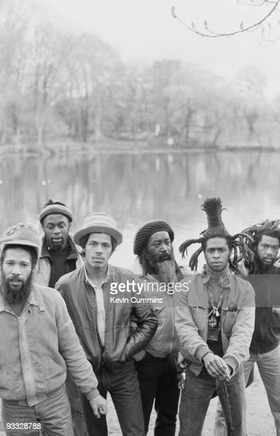 Posed group portrait of English reggae band Steel Pulse in Birmingham in April 1982 Left to right are Ronnie McQueen Selwyn Brown Colin Gabbidon...
