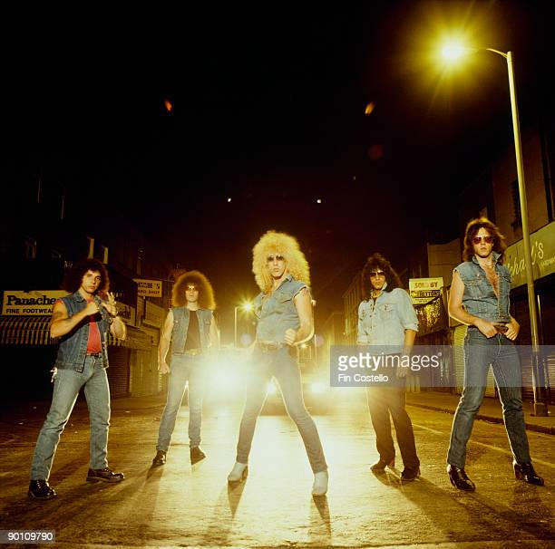 Posed group portrait of rock band Twisted Sister Left to right are AJ Pero Mark Mendoza Dee Snider Eddie Ojeda and JJ French taken in July 1982