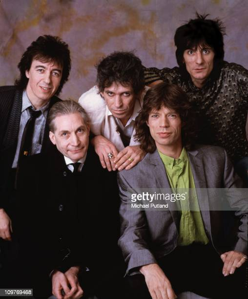 Posed group portrait of the Rolling Stones in London England in 1986 Left to right are bassist Bill Wyman drummer Charlie Watts guitarist Keith...