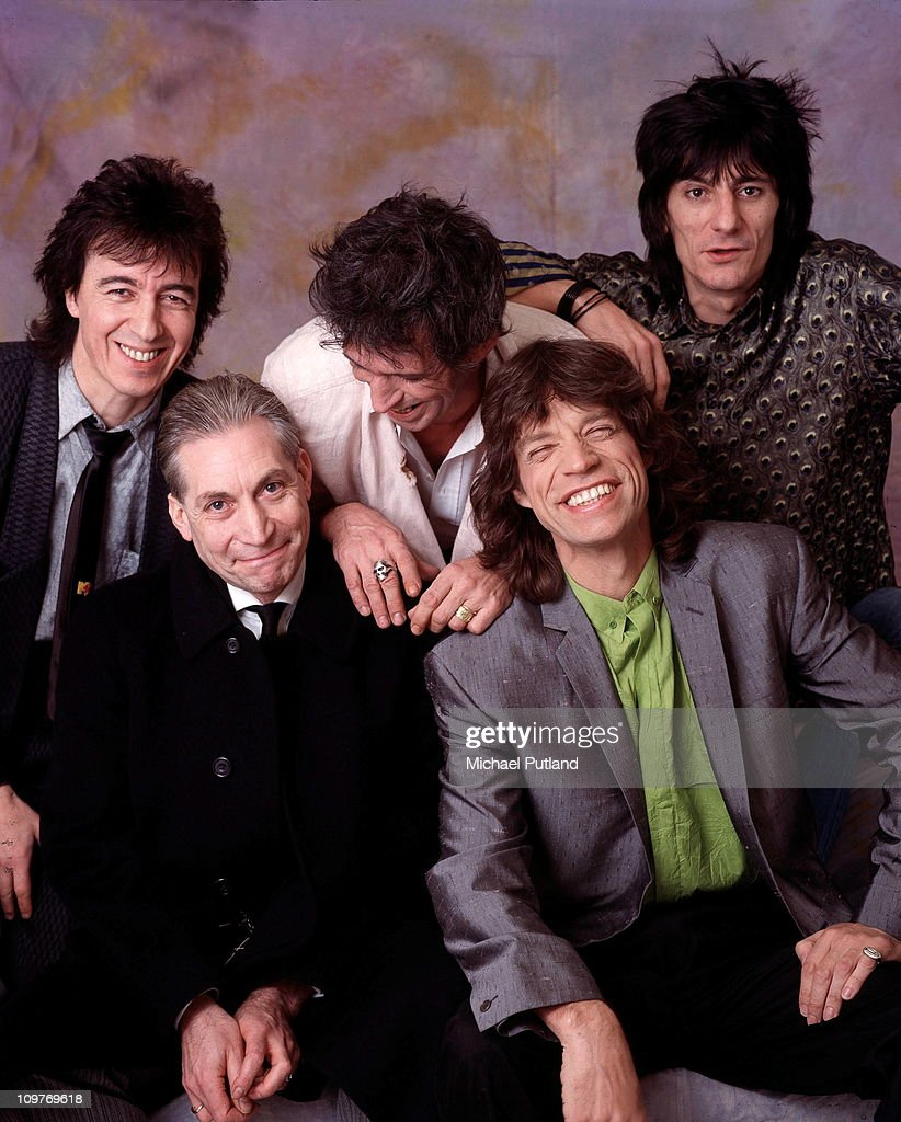 Posed group portrait of the Rolling Stones in London, England in 1986. Left to right are bassist <a gi-track='captionPersonalityLinkClicked' href=/galleries/search?phrase=Bill+Wyman&family=editorial&specificpeople=157859 ng-click='$event.stopPropagation()'>Bill Wyman</a>, drummer <a gi-track='captionPersonalityLinkClicked' href=/galleries/search?phrase=Charlie+Watts&family=editorial&specificpeople=213325 ng-click='$event.stopPropagation()'>Charlie Watts</a>, guitarist <a gi-track='captionPersonalityLinkClicked' href=/galleries/search?phrase=Keith+Richards+-+Musician&family=editorial&specificpeople=202882 ng-click='$event.stopPropagation()'>Keith Richards</a>, singer <a gi-track='captionPersonalityLinkClicked' href=/galleries/search?phrase=Mick+Jagger&family=editorial&specificpeople=201786 ng-click='$event.stopPropagation()'>Mick Jagger</a> and guitarist Ronnie Wood.
