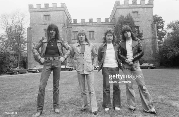 Posed portrait of British group The Sweet Left to right are drummer Mick Tucker singer Brian Connolly bassist Steve Priest and guitarist Andy Scott...