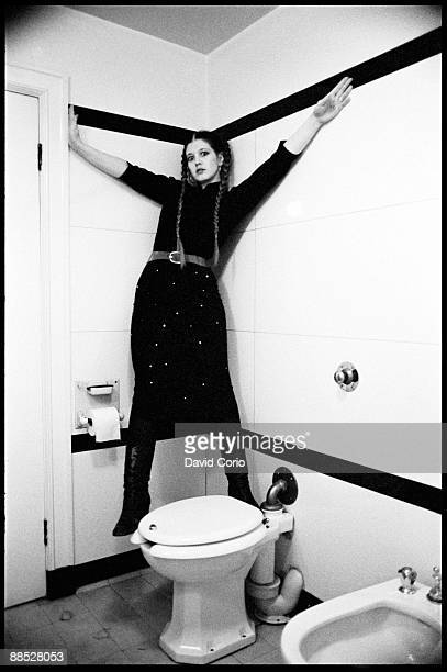 Posed portrait of singer Lene Lovich in a hotel bathroom in Leeds England on November 13 1978