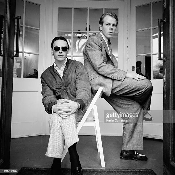 Posed portrait of singersongwriter Paul Weller and keyboard player Mick Talbot of English band the Style Council in March 1989