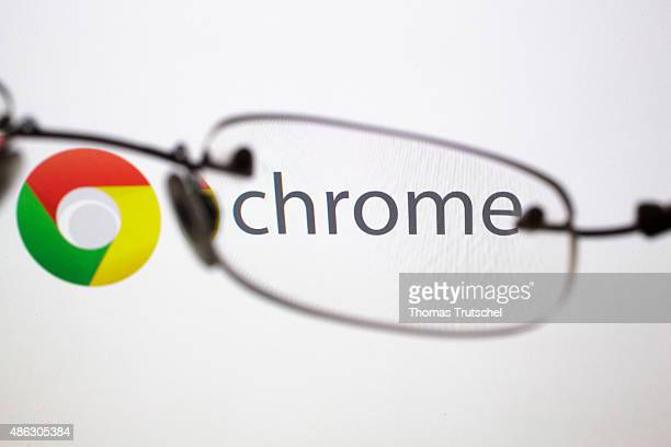 Posed scene on the topic google chrome glasses in front of the google chrome company logo on September 03 2015 in Berlin Germany Photo by Thomas...
