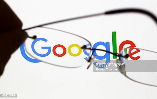Posed scene on the topic google glasses in front of the google company logo on September 03 2015 in Berlin Germany Photo by Thomas...