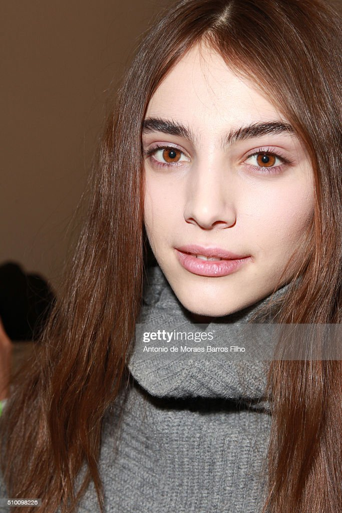 A poses backstage prior the Altuzarra show as a part of Fall 2016 New York Fashion Week at on February 13, 2016 in New York City.