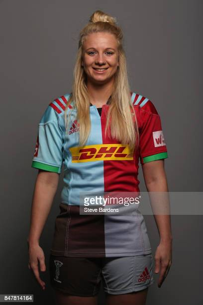 poses for a portrait during the Harlequins Ladies Squad Photo call for the 2017/18 Tyrrells Premier 15s Season at Surrey Sports Park on September 10...