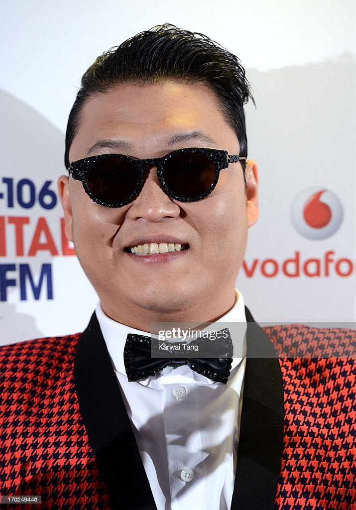 PSY poses in the Media Room at the Capital Summertime Ball at Wembley Arena on June 9, 2013 in London, England.