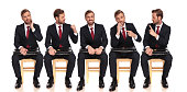 5 poses of a businessman talking to himself while waiting on a chair on white background