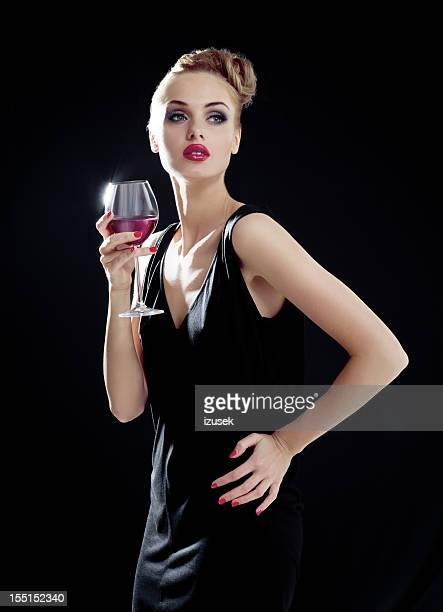 Posh woman with wineglass