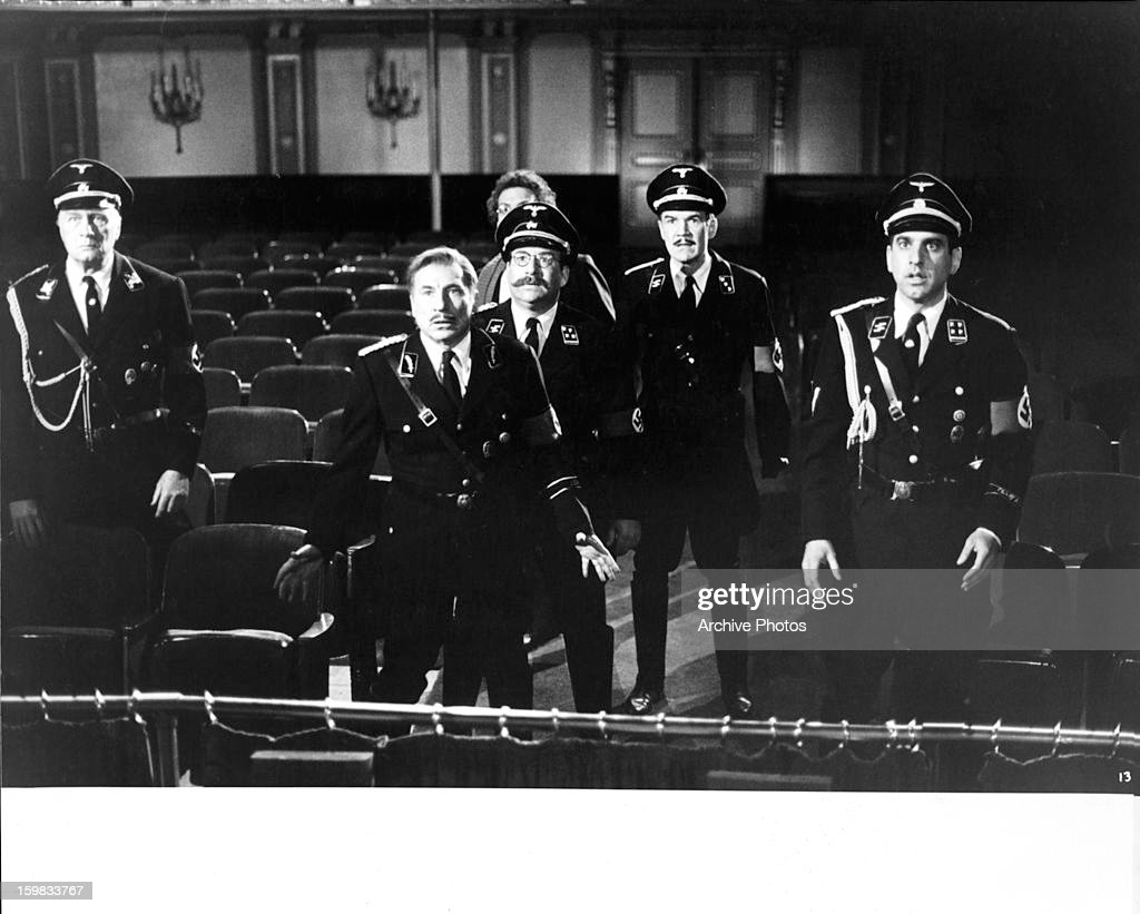 Posing as German officers, George Gaynes, Mel Brooks, Zale Kessler, Lewis J Stadlen, Jack Riley, and George Wyner are faced with real-life danger in a scene from the film 'To Be Or Not To Be', 1983.