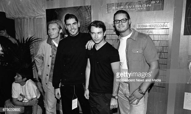 Posing for Photos at the Boyzone Press Conference at The Point Depot Dublin prior to their apperance on Eurovision 97 Ronan Keating Shane Lynch Keith...