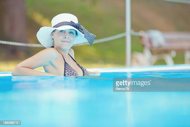 Posing lady in a pool