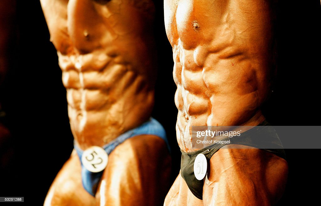 Posing of the abdominal muscles in the middleweight more than 85 kilogram during the World Games 2005 on July 15 2005 in Duisburg Germany