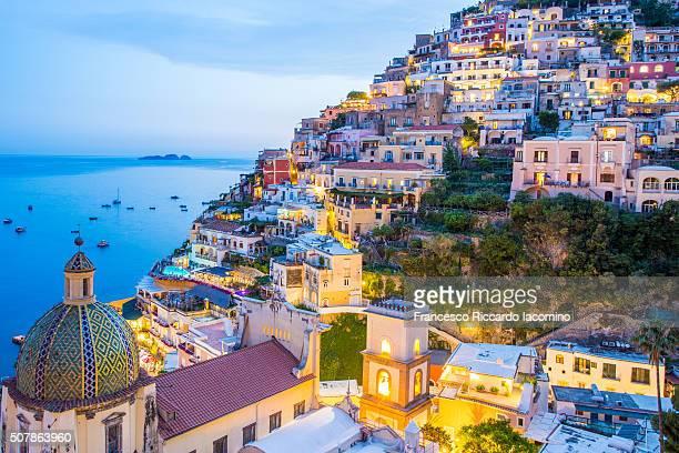 Positano at dusk, Amalfi Coast
