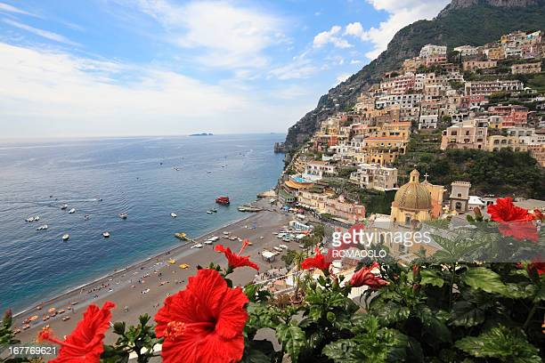 Positano Cathedral and city, Amalfi Coast, Campania Italy