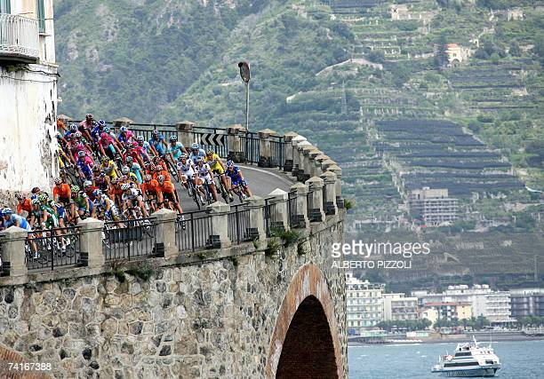 Cyclists pedal in the 'Costiera Amalfitana' during the fourth stage of the Giro d'Italia cycling race 153 km leg from Salerno to Montevergine Di...